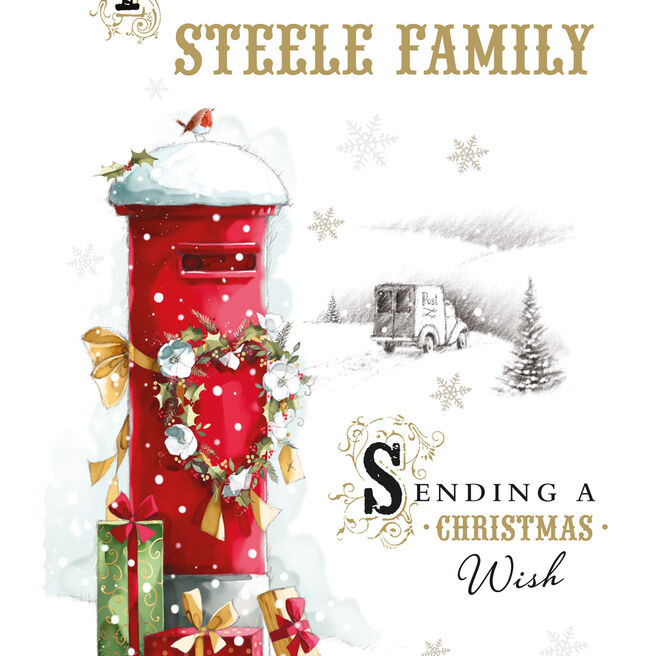 Personalised Christmas Card - Snowy Post Box