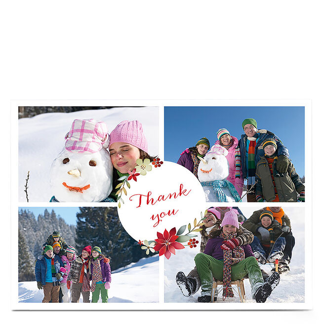 Multi Photo Christmas Thank You Card - 4 Photos