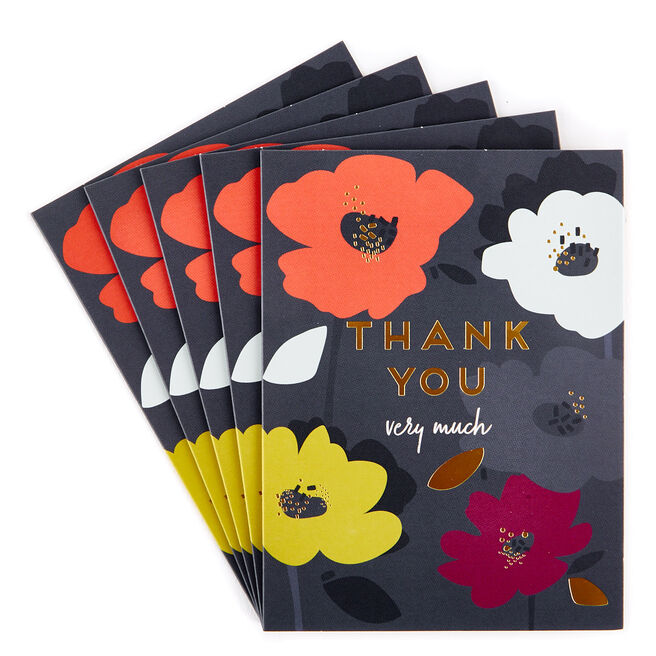 Thank You Very Much Cards, Floral - Pack of 12