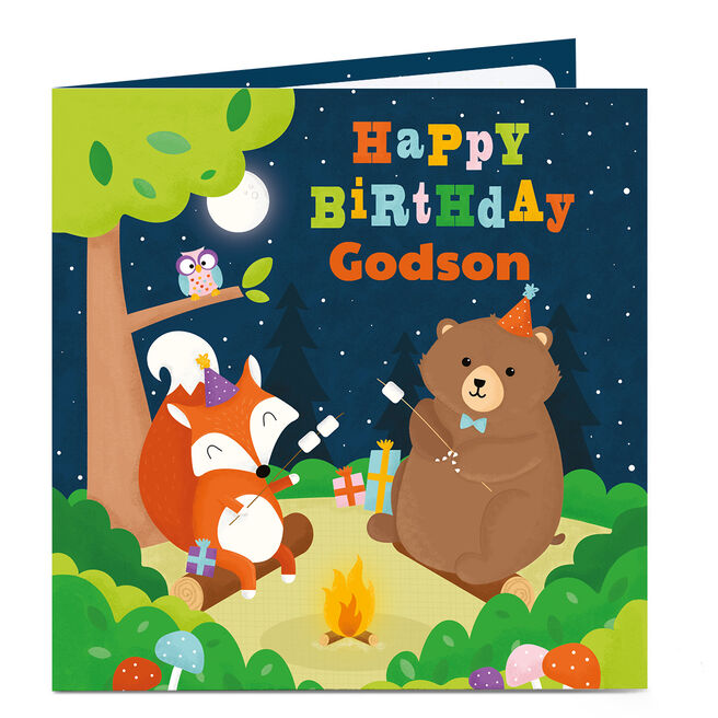 Personalised Birthday Card - Animals Camping [Godson]
