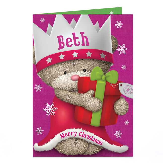 Personalised Hugs Bear Christmas Card - Princess