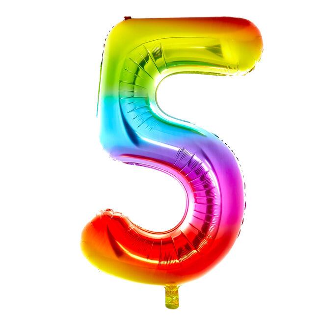 Giant Rainbow Number 5 Foil Helium Balloon - DEFLATED