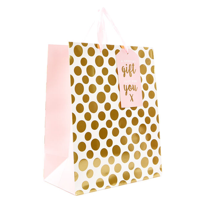 Medium Pink & Gold Spots Gift Bag