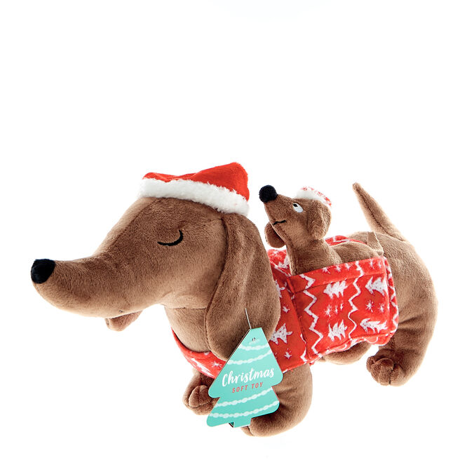 Sausage Dog and Baby Christmas Soft Toy