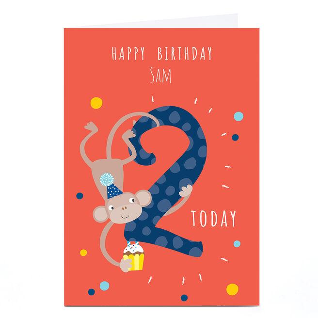 Personalised Klara Hawkins 2nd Birthday Card - Monkey