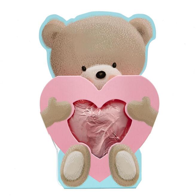 Hugs Bear Solid Milk Chocolate Heart