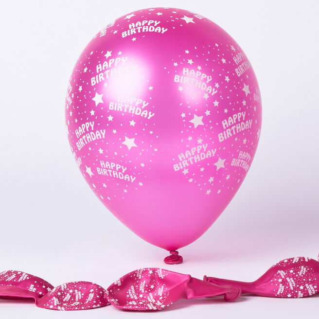 Metallic Pink Happy Birthday Latex Balloons - Pack Of 6