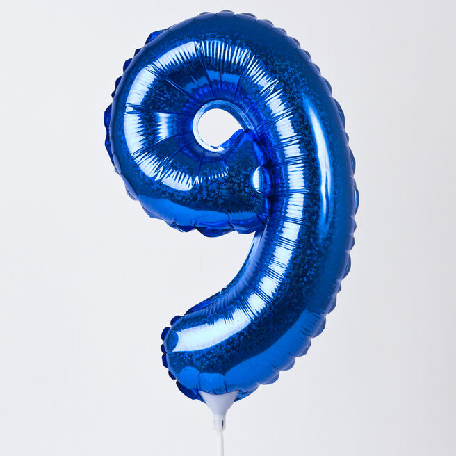 Holographic Blue Number 9 Balloon On A Stick