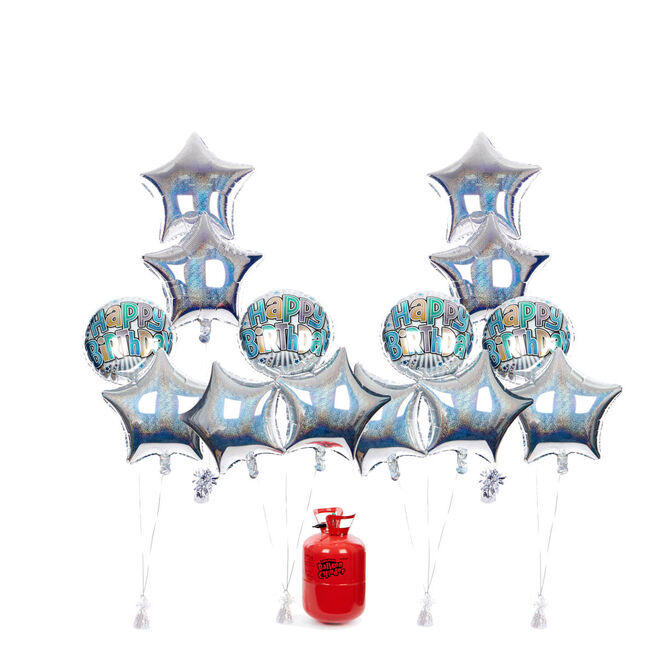 Birthday Party Balloon Bundle - Silver Stars & Helium - FREE NEXT DAY DELIVERY