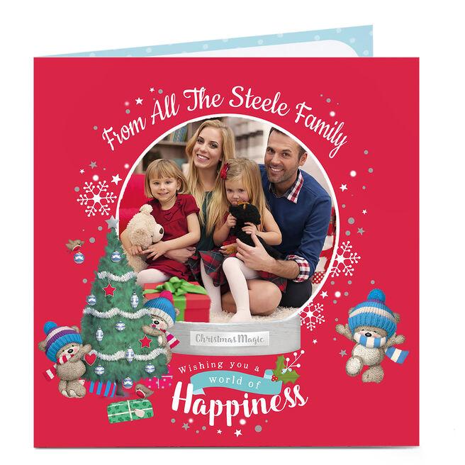 Hugs Photo Christmas Card - Snow Globe