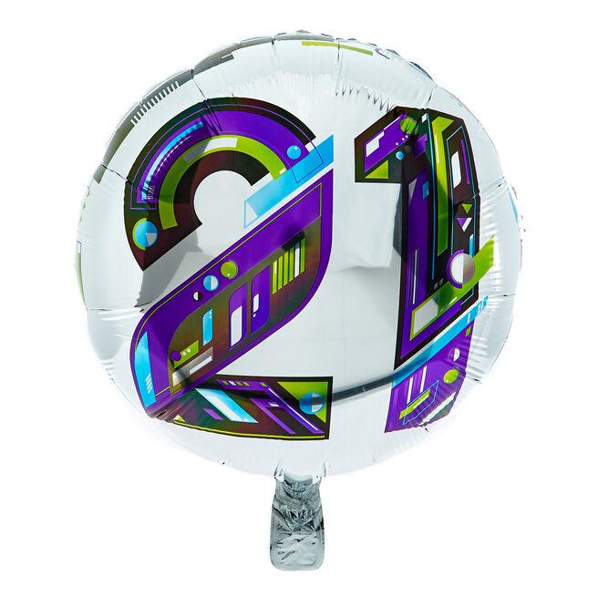 Modern Numerals 21st Birthday 18-Inch Foil Helium Balloon