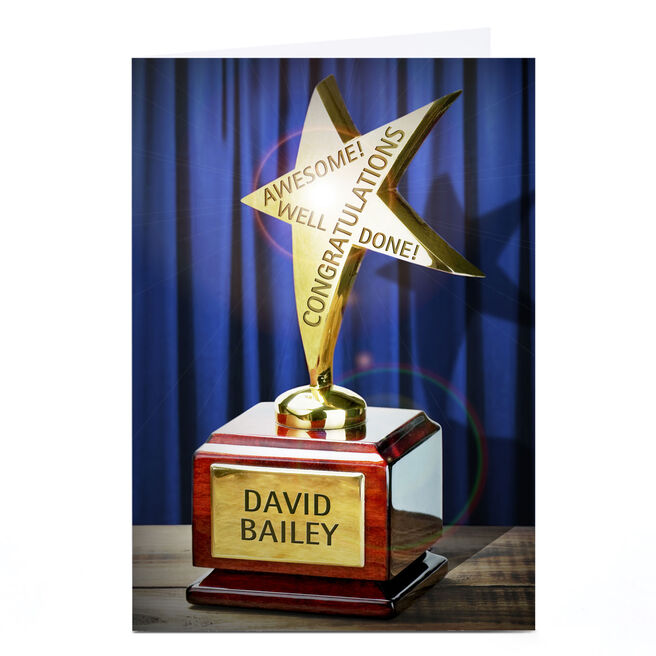 Personalised Congratulations Card - Star Trophy