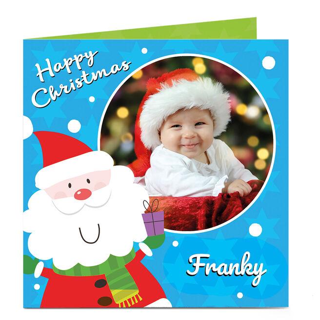 Photo Christmas Card - Santa Blue
