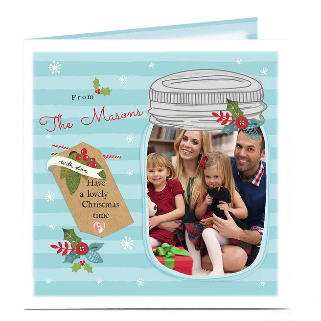 Photo Upload Christmas Card - Mason Jar