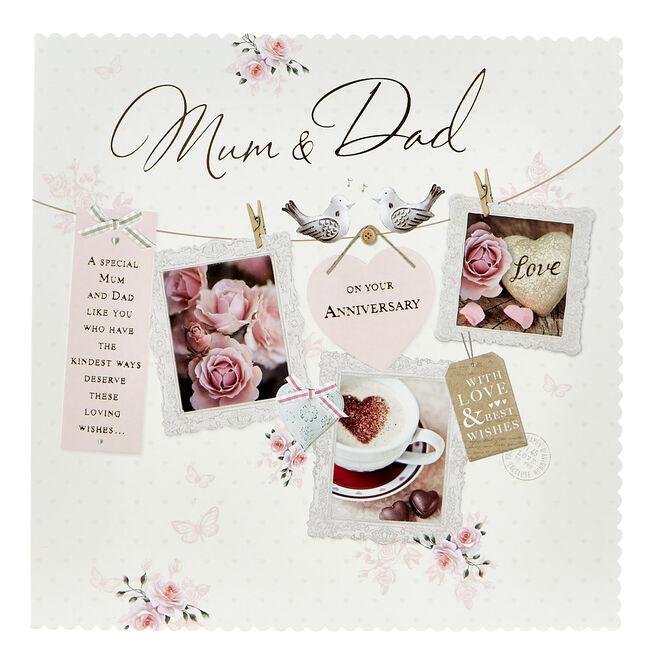 Platinum Collection Anniversary Card - Mum & Dad, Washing Line