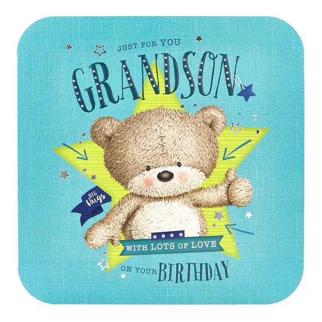 Platinum Collection Birthday Card - Grandson Hugs