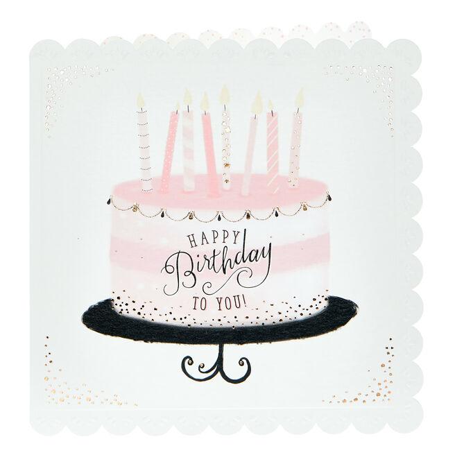 Birthday Card - Pretty Pink Cake