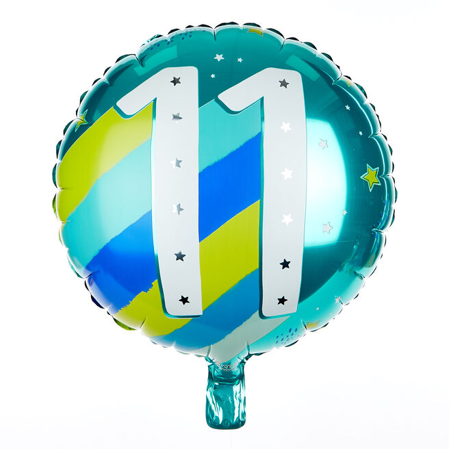 Blue & Green 11th Birthday 18-Inch Foil Helium Balloon