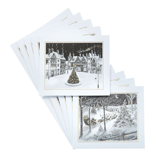 Box of 12 Deluxe Landscape Village Charity Christmas Cards - 2 Designs