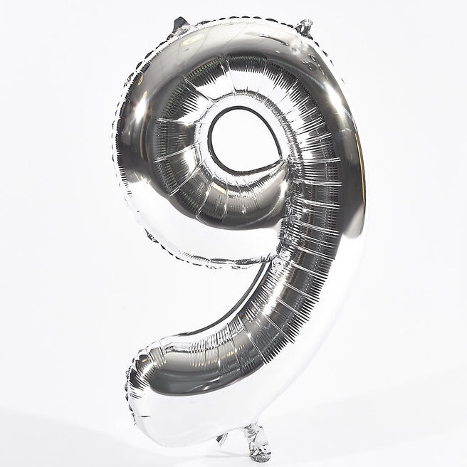 Silver Number 9 Foil Giant Helium Balloon (Deflated)
