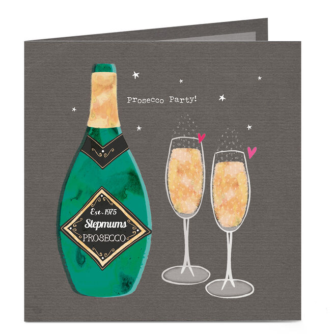 Personalised Birthday Card - Stepmum's Prosecco Party