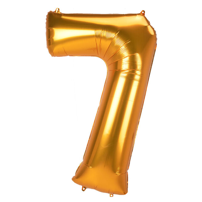 JUMBO 53-Inch Gold Foil Number 7 Balloon (Deflated)