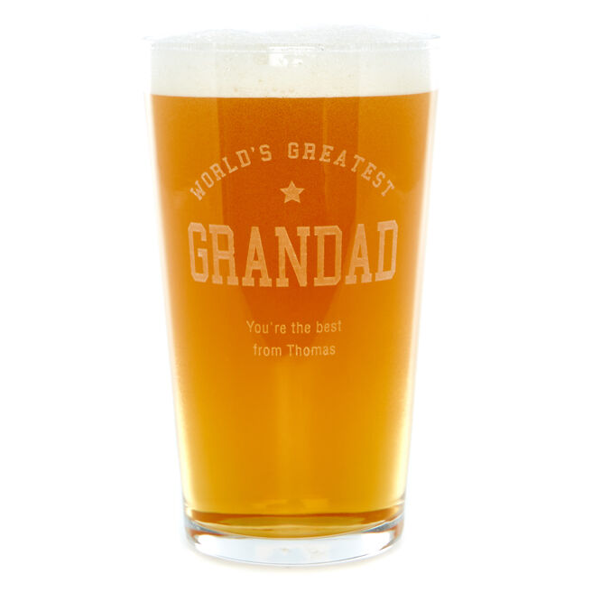Personalised World's Greatest Grandad Pint Glass