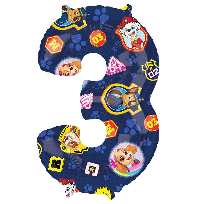 Paw Patrol Number 3 34-Inch Foil Helium Balloon