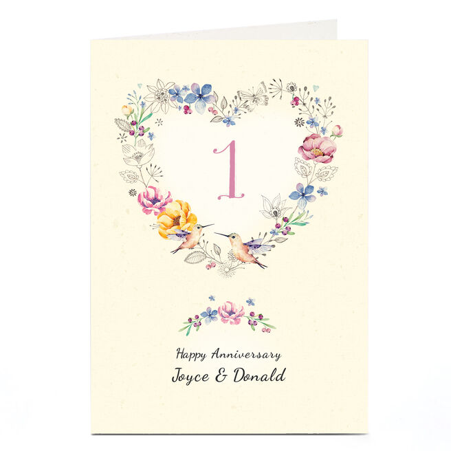 Personalised Anniversary Card - Floral Heart