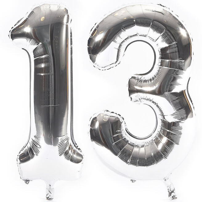 Age 13 Giant Foil Helium Numeral Balloons - Silver (deflated)