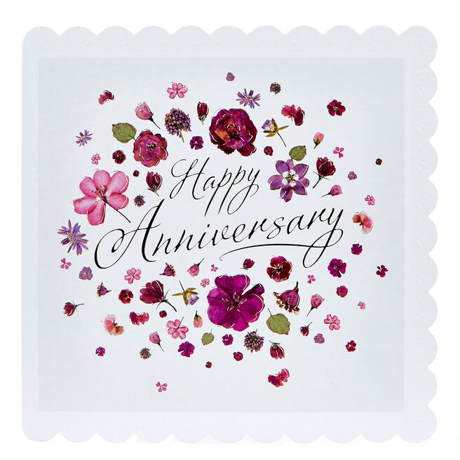 Anniversary Card - Purple & Gold Flowers