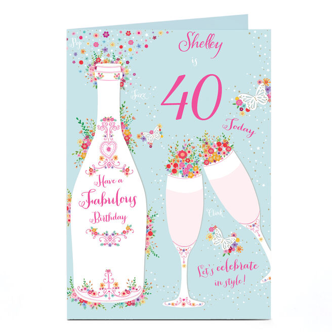 Personalised Any Age Birthday Card - Champagne, Flutes & Flowers