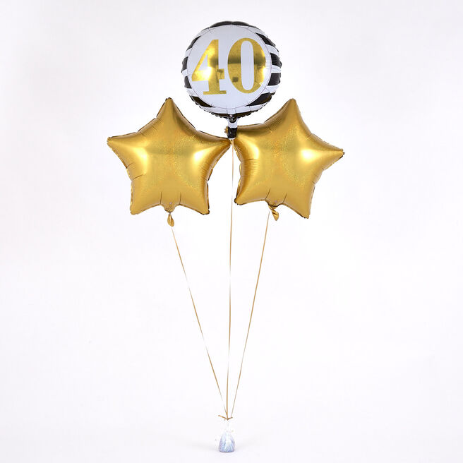 40th Birthday Gold Balloon Bouquet - DELIVERED INFLATED!