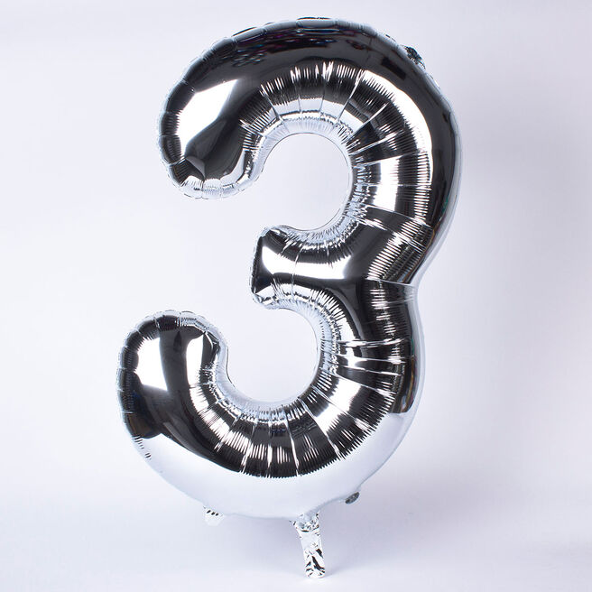 Silver Number 3 Giant Foil Helium Balloon INFLATED