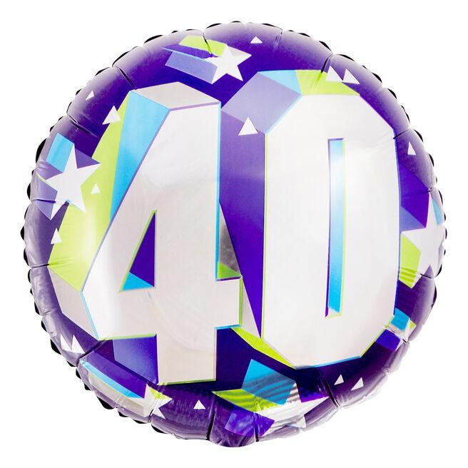 Purple 40th Birthday 18-Inch Foil Helium Balloon