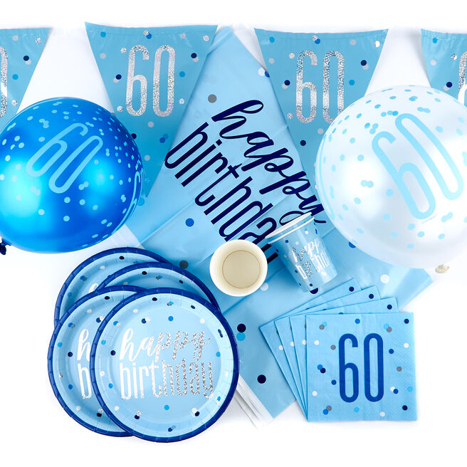 Blue 60th Birthday Party Tableware & Decorations Bundle - 78 Pieces