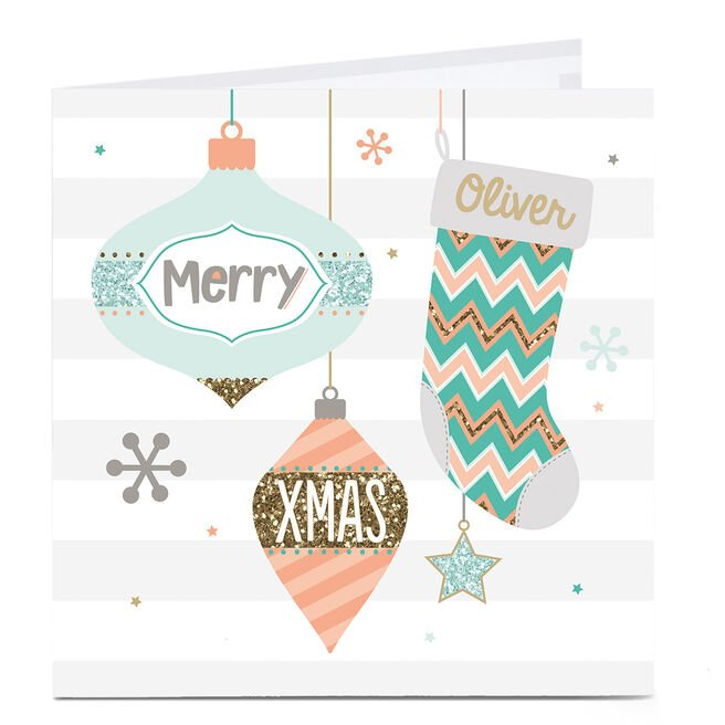 Personalised Christmas Card - Stockings & Baubles