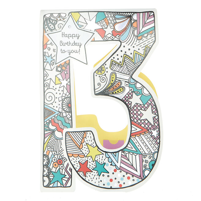 13th Birthday Card - Funky Patterns
