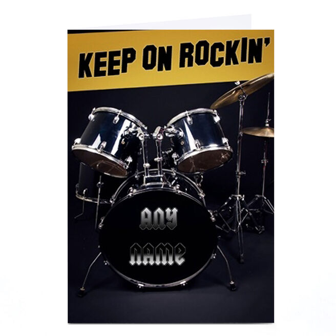 Personalised Card - Keep On Rockin' Drum Kit