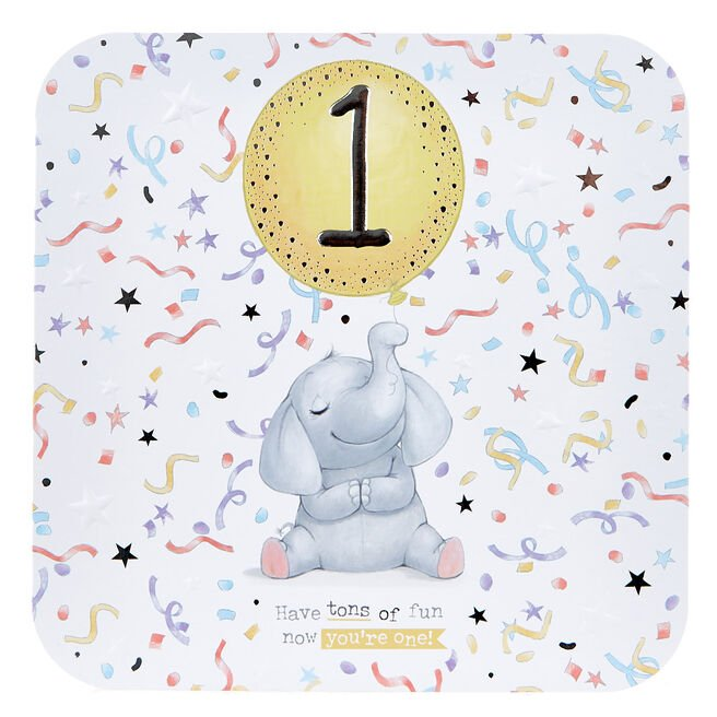 Platinum Collection 1st Birthday Card - Elephant With Balloon