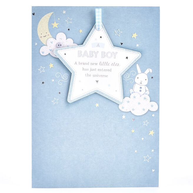 New Baby Card - Baby Boy, Little Star