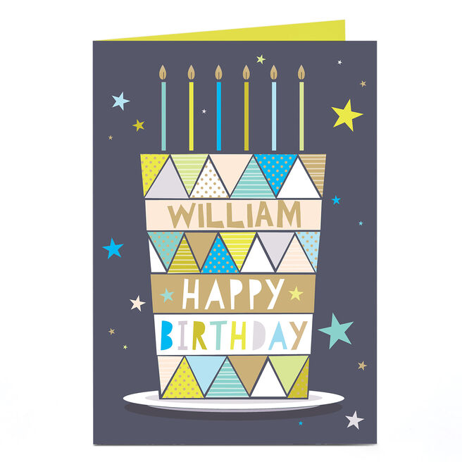 Personalised Birthday Card - Geometric Birthday Cake