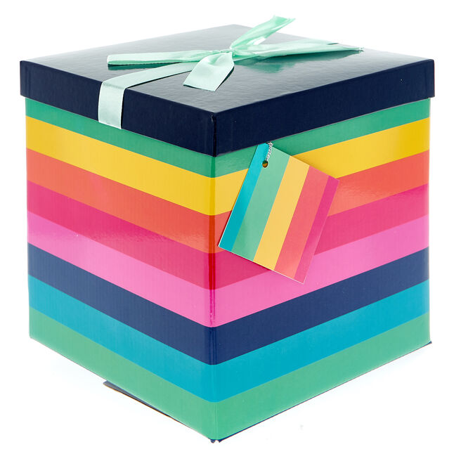 Large Flat-Pack Gift Box - Rainbow Stripes