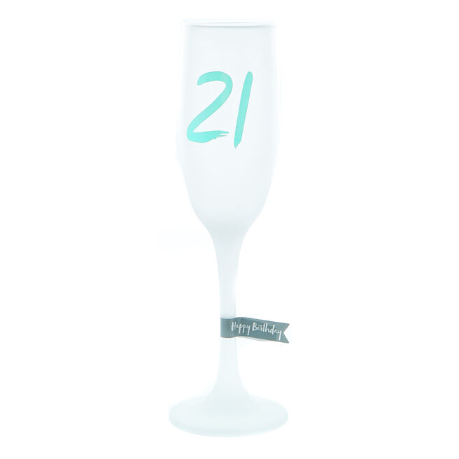 21st Birthday Frosted Champagne Flute