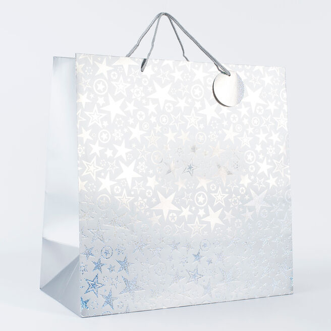 Silver Stars Extra Large Square Gift Bag