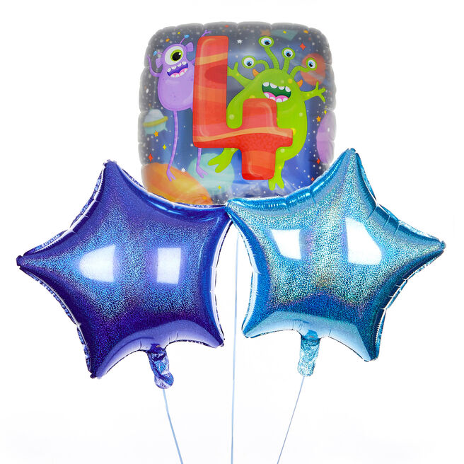 Monster Themed 4th Birthday Balloon Bouquet - DELIVERED INFLATED!