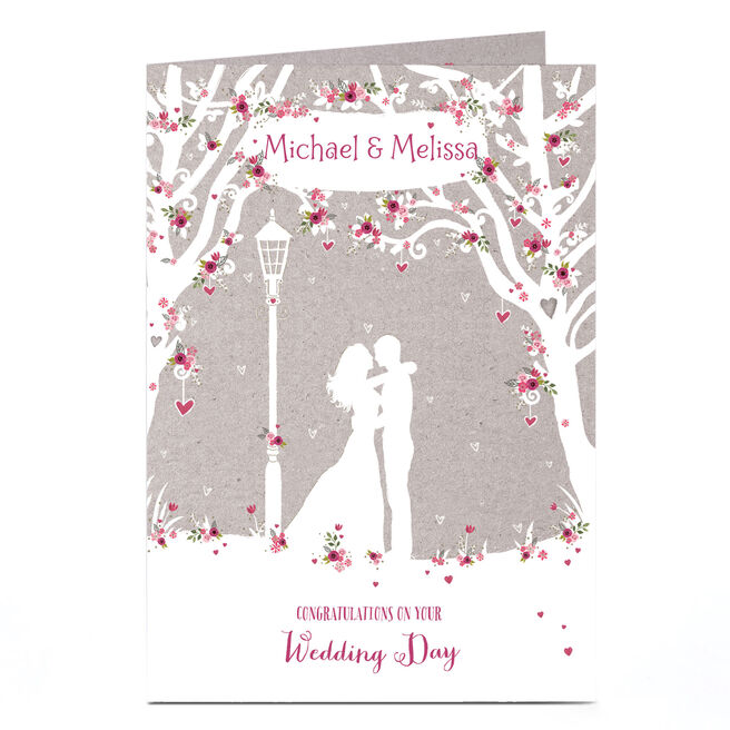 Personalised Wedding Card - Woodland Couple Silhouette