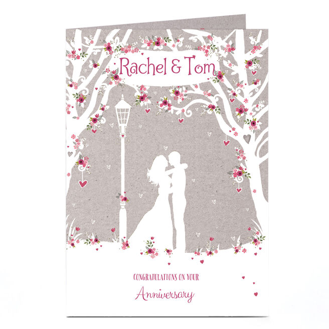 Personalised Anniversary Card - Floral Silhouette