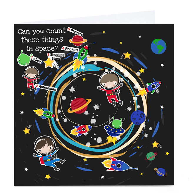 Personalised Rachel Griffin Birthday Card - Can You Count, Space Items?