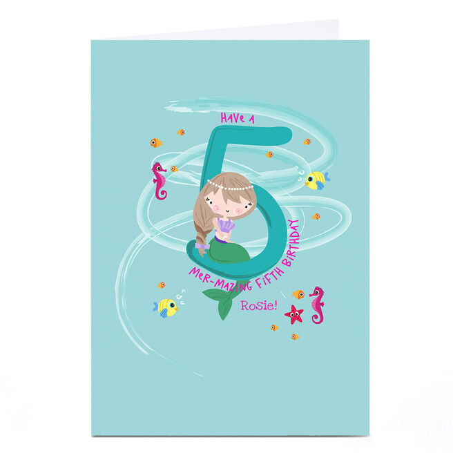 Personalised Rachel Griffin Birthday Card - 5, Mer-mazing Birthday
